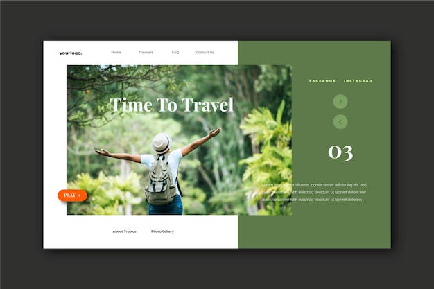 Travel landing page with photo of man in nature Free Vector