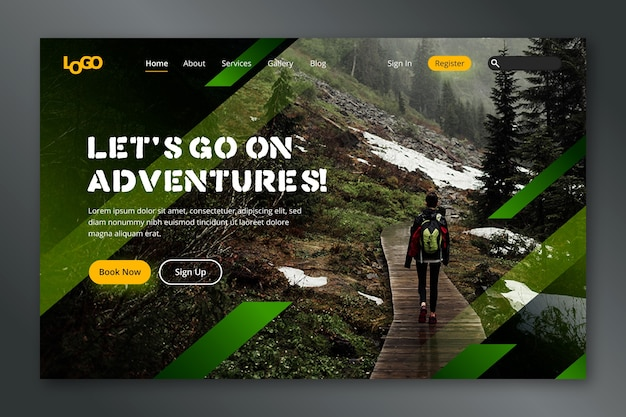 Travel landing page with photo Free Vector