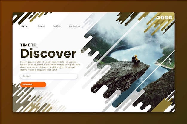 Travel landing page with photo Premium Vector
