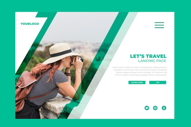 Travel landing page with pic Free Vector