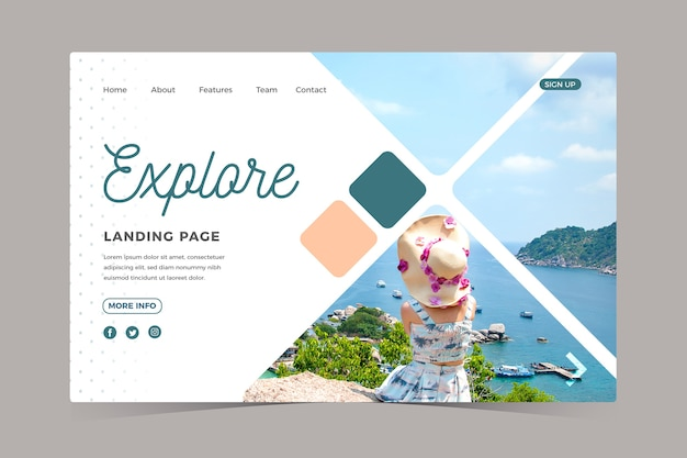 Travel landing page with picture Free Vector