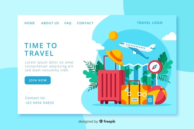Travel landing page Free Vector