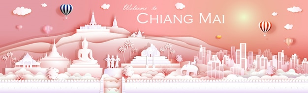 Travel landmark culture chiangmai thailand with temple Premium Vector