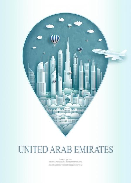 Ориентир перемещения памятник архитектуры объединенных арабских эмиратов современный абу-даби. Premium векторы