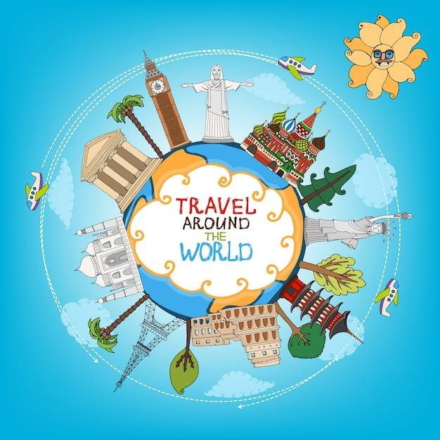 Путешествия достопримечательности памятники по всему миру с самолетом, солнцем и облаками вектор Бесплатные векторы
