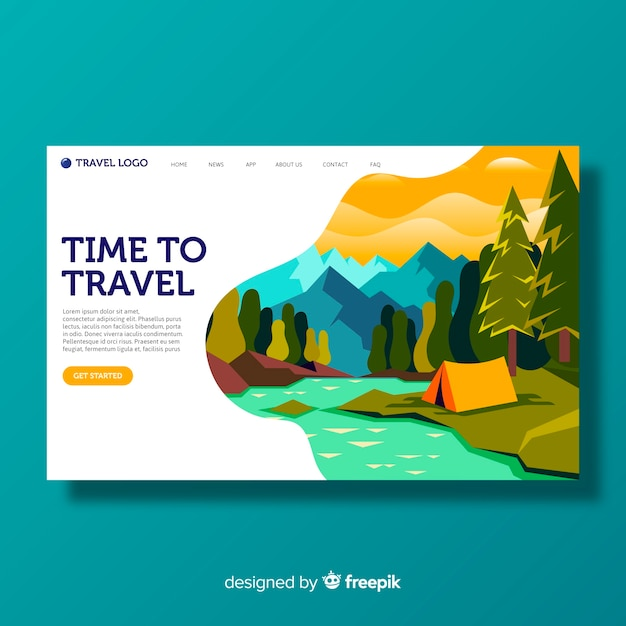 Travel landscape landing page template Free Vector