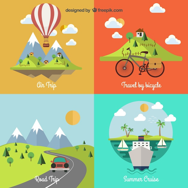 Travel landscapes Free Vector