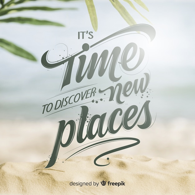 Travel lettering background with photo Free Vector