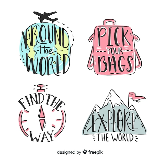 Travel lettering hand drawn badges Free Vector