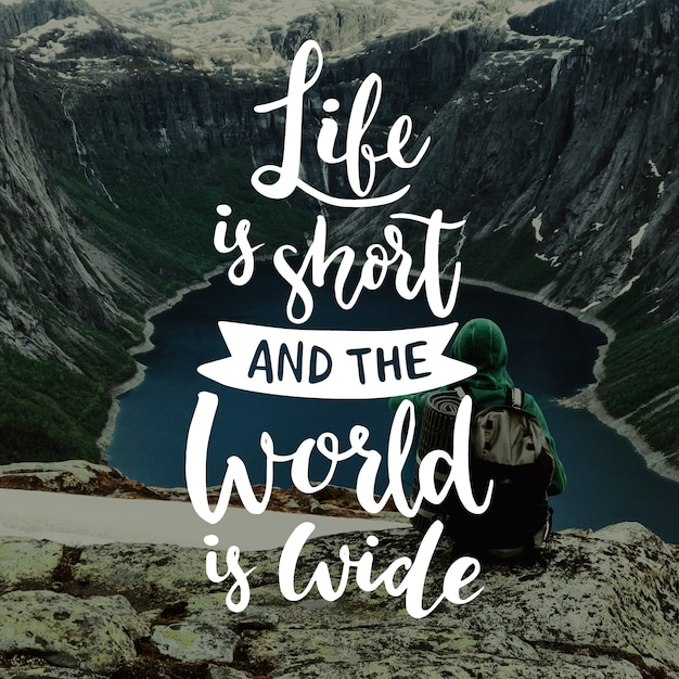 Travel lettering life is short and world is wide Free Vector