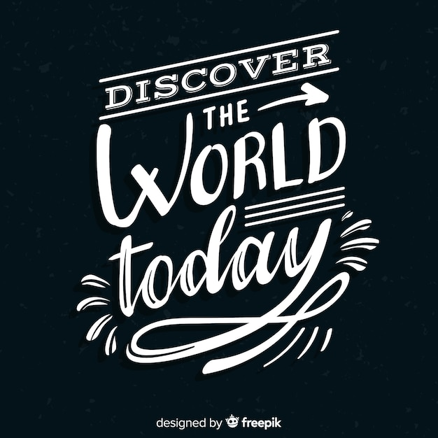 Travel lettering quote black background Free Vector