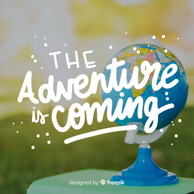 Travel lettering with photo background Free Vector