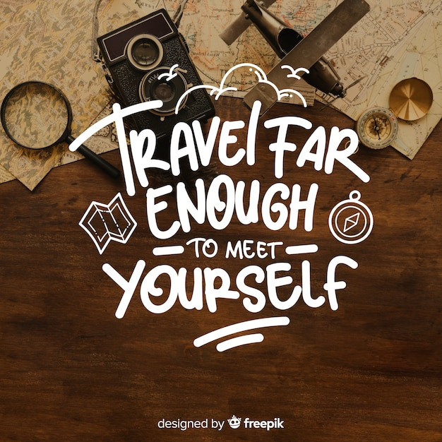 Travel lettering with  quote and image Free Vector