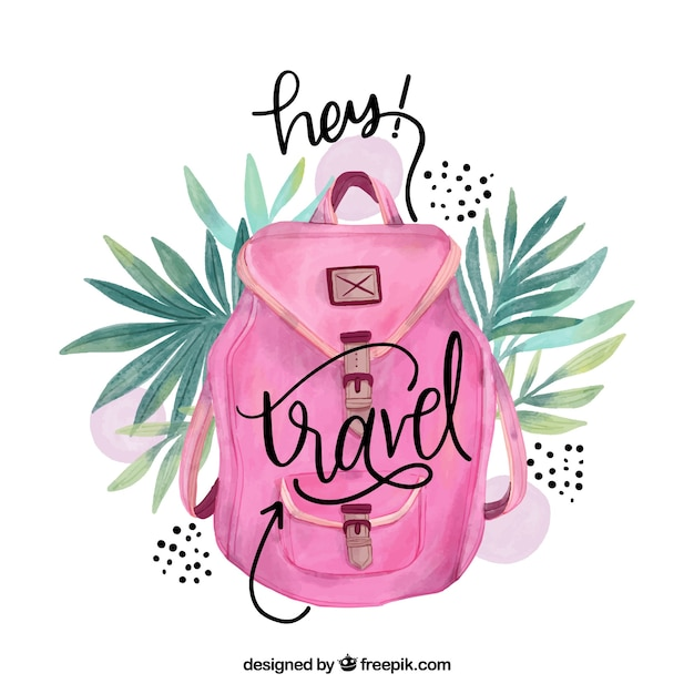 Travel lettering with watercolor pink backpack Free Vector
