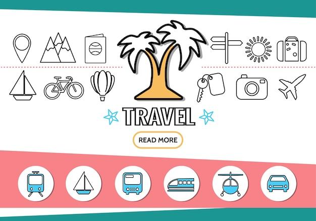 Le icone della linea di viaggio hanno messo con il sole dell'insegna del passaporto delle montagne del perno di navigazione di trasporto della palma Vettore gratuito