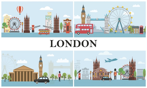 Travel to london composition with transport british royal guards famous landmarks and attractions in flat style Free Vector