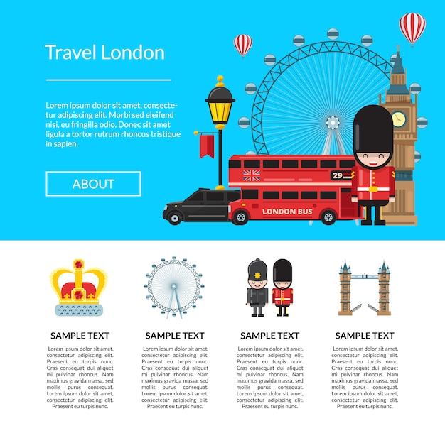 Travel london template. vector cartoon london elements Premium Vector