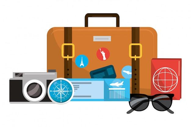 Travel luggage cartoon Premium Vector