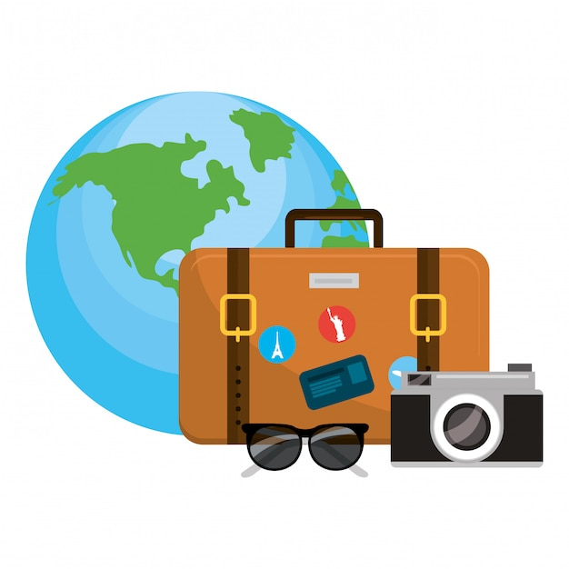 Travel luggage cartoon Premium Vector