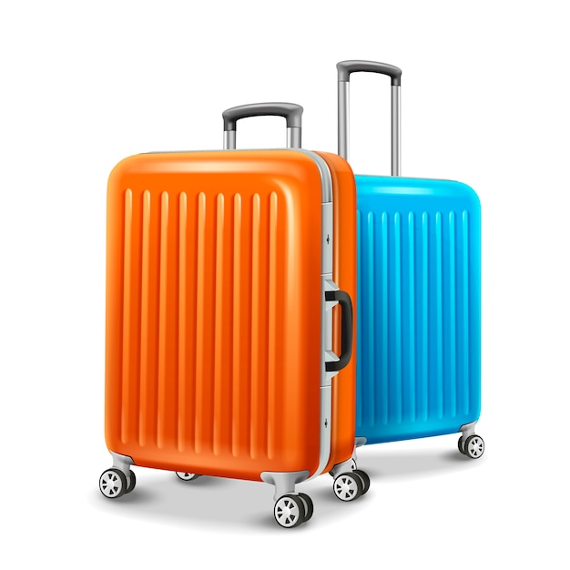 Travel luggage elements, two travel essentials in orange and blue in  illustration Premium Vector
