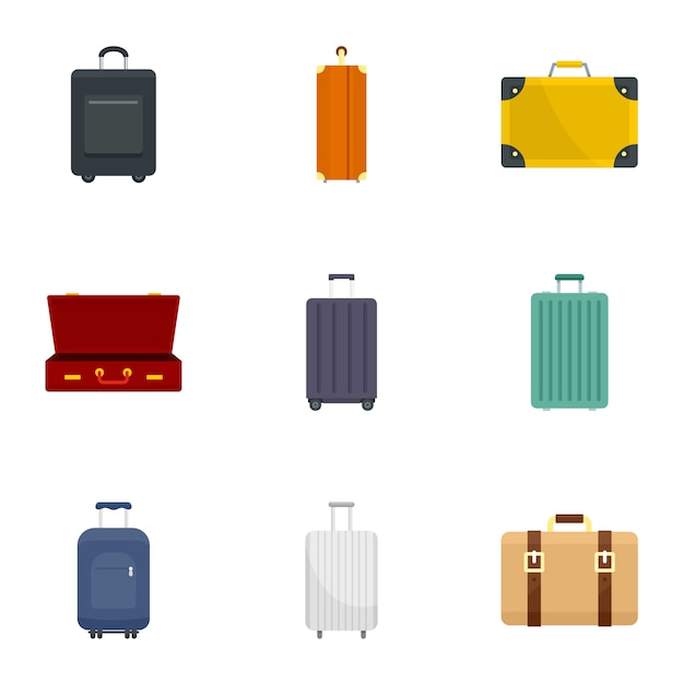 Travel luggage icon set, flat style Premium Vector