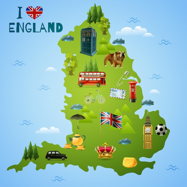 Travel map for england Free Vector