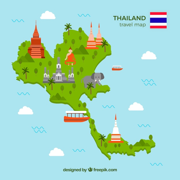 Travel map of thailand with landmarks Free Vector