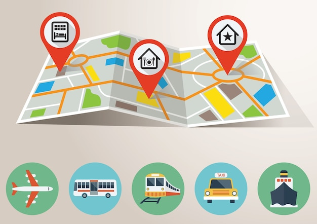 Travel map with gps marking and transportation icons Premium Vector
