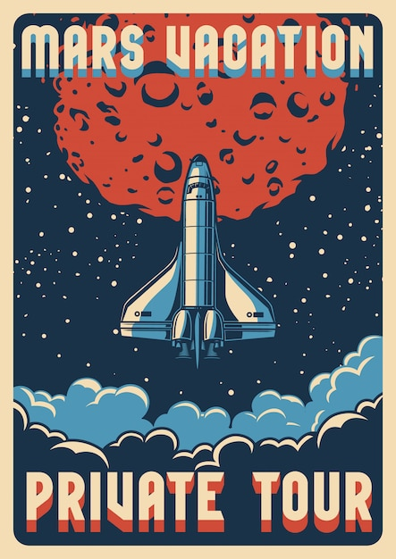 Travel to mars colorful poster Premium Vector