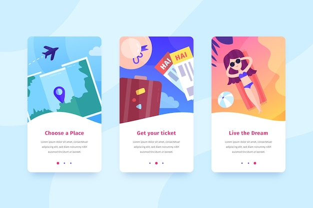 Travel mobile interface design Free Vector