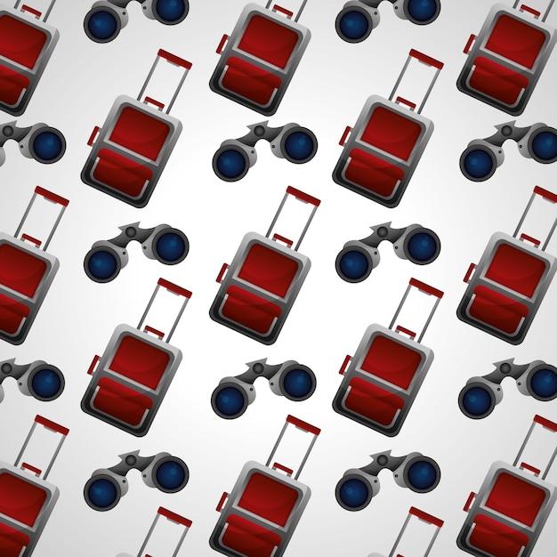 旅行のモダンなスーツケースと双眼鏡の背景 Premiumベクター