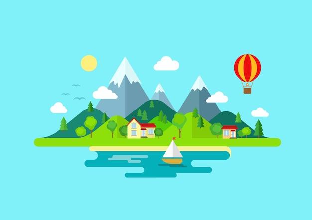 여행 산 섬 풍경과 항해 색상 무료 벡터