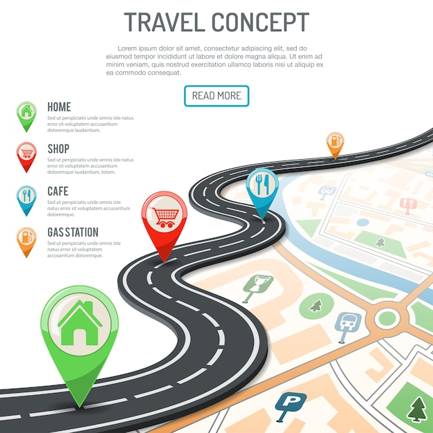 Travel and navigation concept Premium Vector