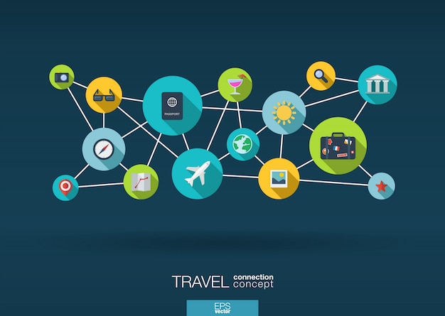 Travel network. growth background with lines, circles and integrate  icons. connected symbols for tourism, holiday, trip, summer, vacation and global concepts.  interactive illustration Premium Vector