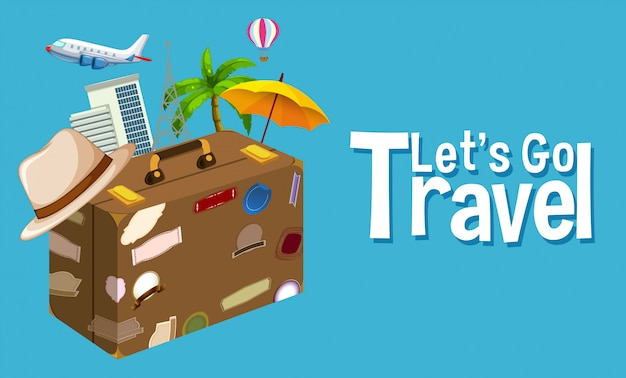 Travel objec on blue background Free Vector