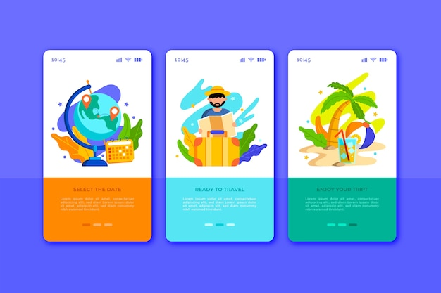 Travel onboarding app screens for mobile phone Free Vector