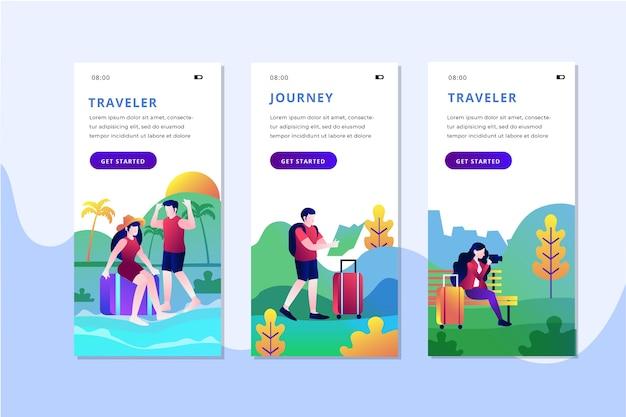 旅行オンボーディングアプリの画面セット 無料ベクター