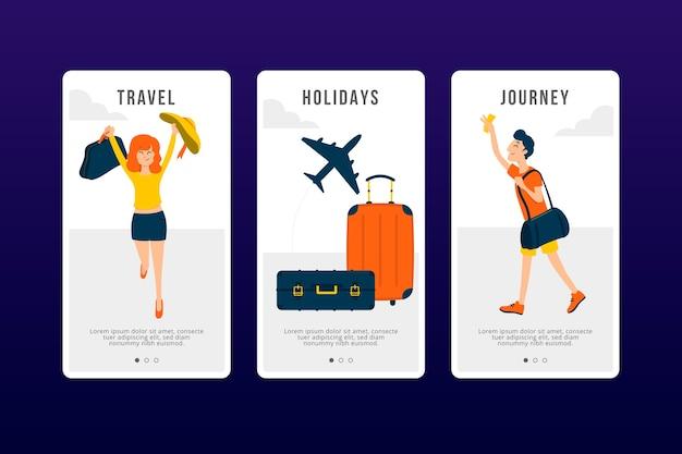 Travel onboarding app screens set Free Vector