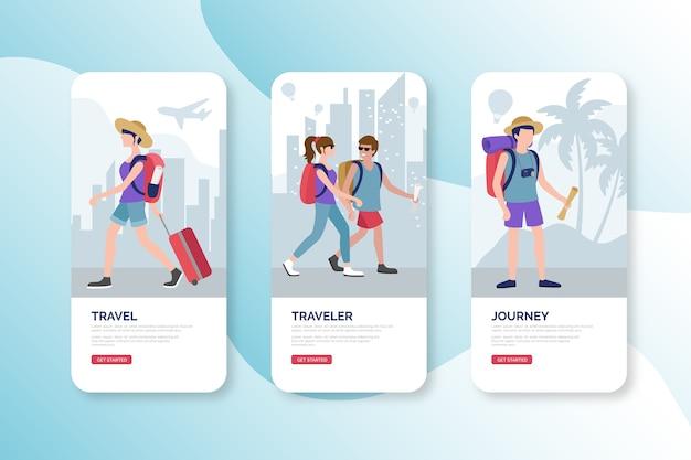 旅行のオンボーディングアプリ画面 Premiumベクター