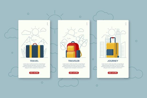 旅行オンボーディングアプリの画面 無料ベクター