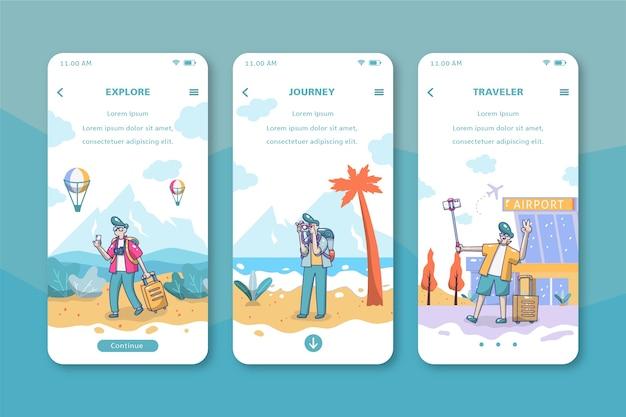 Travel onboarding app screens Free Vector