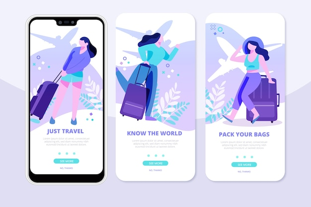 Travel onboarding apps on mobile phone Free Vector