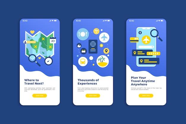 Travel online onboarding app screens (mobile phone) Free Vector