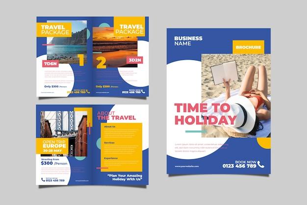 Концепция брошюры туристического пакета Бесплатные векторы