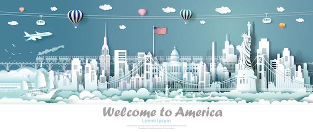 Travel panorama view landmarks united states of america. Premium Vector