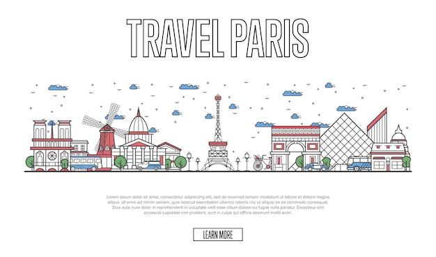 Travel paris website in linear style Premium Vector
