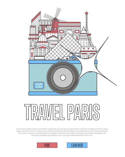 Веб-сайт travel paris с камерой Premium векторы