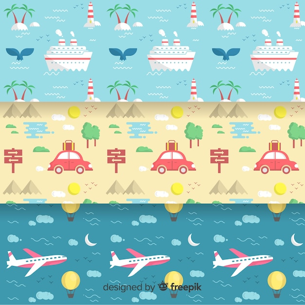 Travel pattern collection Free Vector