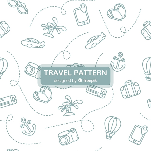 Шаблон путешествия с элементами и штриховыми линиями Бесплатные векторы