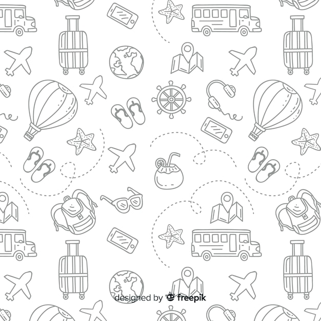 Travel pattern with elements and dash lines Free Vector